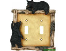Black Bear Double Rustic Light Switch Covers