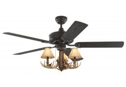 "52"" Bronze Rustic Ceiling Fan - 3-Light Antler Indoor/Outdoor"