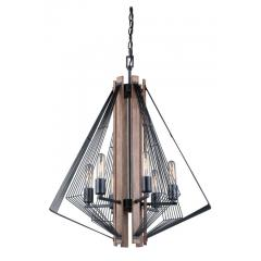 Dearborn Black Wood Edison Nautical Modern 6 Light Chandelier