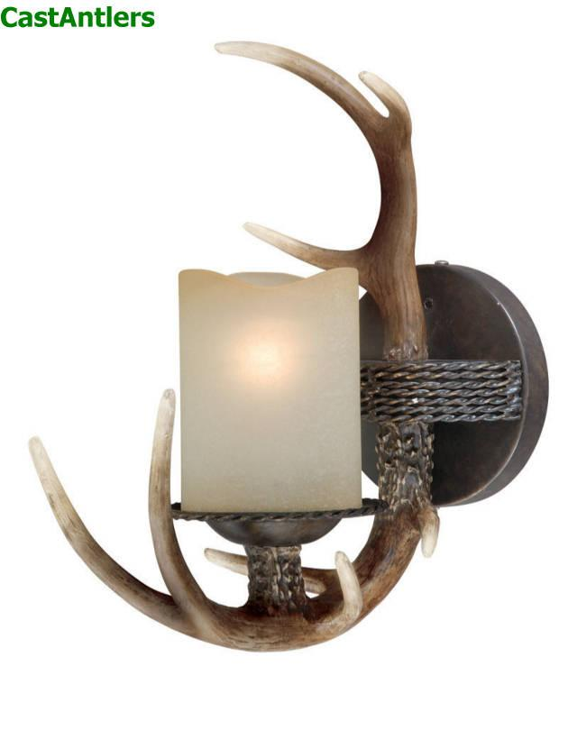 Rustic Cabin Lighting 1 Light Cast Antler Wall Light