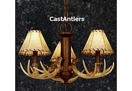 3-Light Cast Antler Chandelier