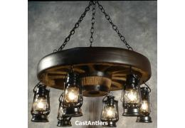 "30"" Hanging Lantern Reproduction Wagon Wheel Chandelier"
