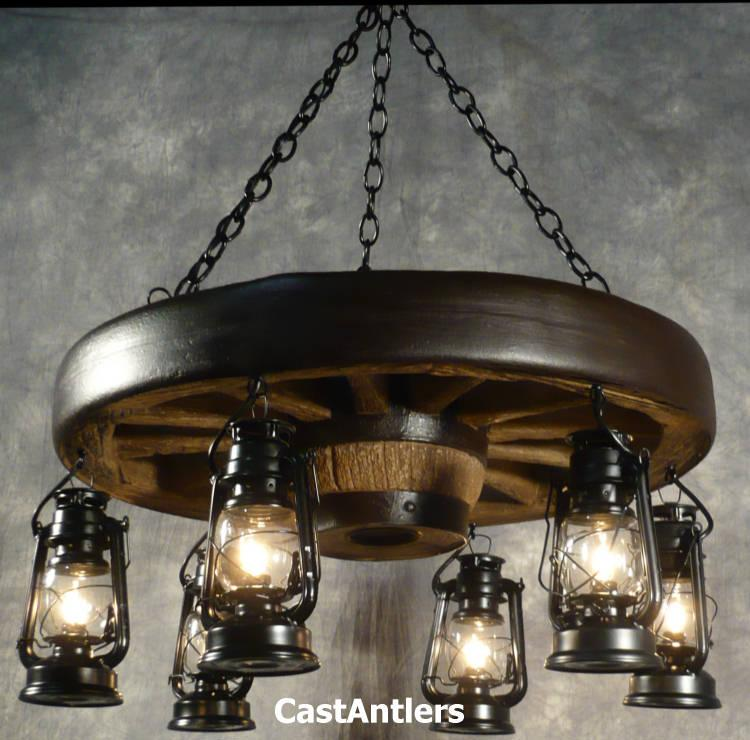 "30"" Reproduction Hanging Lantern Wagon Wheel Chandelier"