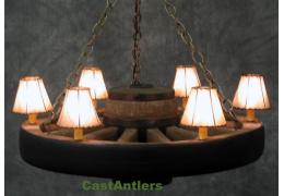 "30"" Reproduction Lodge Wagon Wheel Chandelier w/ Rawhide Shades"