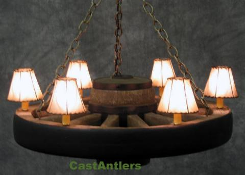 "30"" Reproduction/Cast Wagon Wheel Chandelier w/ Rawhide Shades"
