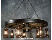 "42"" Hanging Lantern Western Wagon Wheel Chandelier"