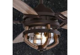 Vintage Edison 54 in. Ceiling Fan Matte Black with Rustic Oak