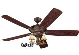 "60"" Cyclone 3 Light Antler Indoor/Outdoor Ceiling Fan"