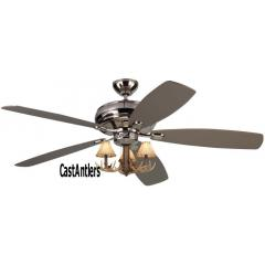 "52"" Embassy Polished Nickel 3-Light Antler Ceiling Fan"