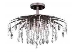 "Etrienne 18"" Modern Crystal Bronze Semi Flush Chandelier"