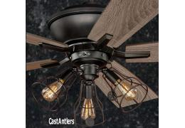 Rustic lodge ceiling fans antler ceiling fans castantlers 52 edison rustic ceiling fan w industrial cage light aloadofball Image collections