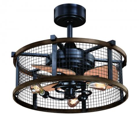 """21"""" Vintage Edison Mesh Cage Fan with Lights"""
