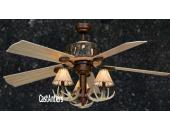 "52"" Stitched Shade Rustic Faux Antler Ceiling Fan"