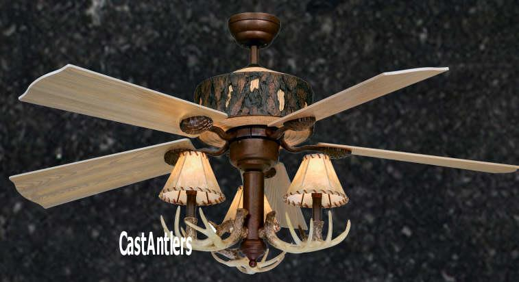 Standard Size Fans Two Rustic Faux Antler Ceiling Fan Rustic Lighting And Decor From Castantlers