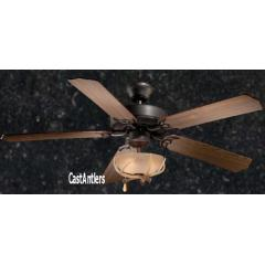 "52"" Rustic Ceiling Fan w/ Antler Bowl Light Kit"