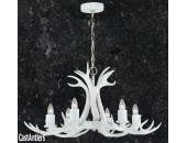 **Pure White** 6 Light Cast Antler Chandelier