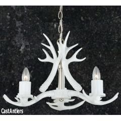 **Pure White** 3 Light Mini Cast Antler Chandelier