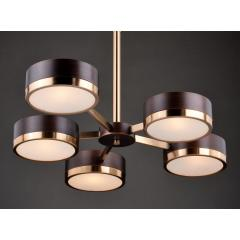 Mid Century Transitional Modern 5 Light Bronze and Brass Chandelier