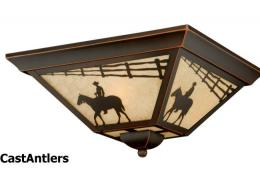 Western Ceiling Light/ Amber Flake Glass