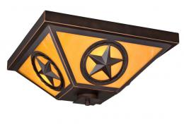Texas Star Ceiling Light with Honey Opal Glass Indoor/Outdoor