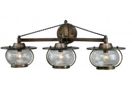 3-Light Western Rustic Vanity Light