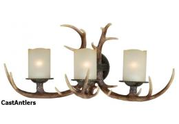 3-Light Cast Antler Vanity Light Black Walnut