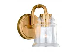 1-Light Natural Brass Retro Vanity Light