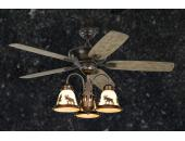 Rustic Ceiling Fan - 52 inch Wilderness w/ Light Kit Aged Pewter