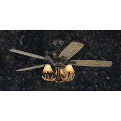 """Rustic Aged Pewter Ceiling Fan - 52"""" 3-Light Antler Indoor Farmhouse Cabin"""