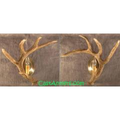 Cast Whitetail 1 Antler Wall Sconces (price is for 2 sconces)