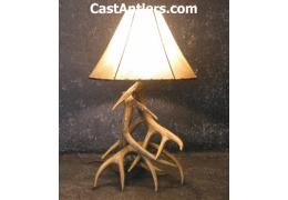 Cast Whitetail 3 Antler Table Lamp w/ Rawhide Shade