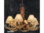 6-Light Cast Antler Chandelier with Faux Leather Shades