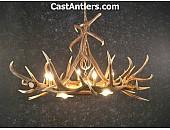 Elk 6 Cast Antler Chandelier w/ 3 Downlights