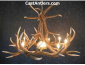 Elk 6 Cast Antler Chandelier w/ Downlight