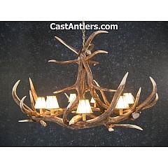 Elk 6 Cast Antler  Chandelier w/ Rawhide Shades