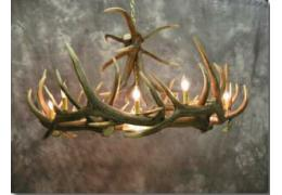 Elk 9 Cast Antler Chandelier w/ Downlight
