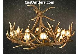 Elk 9 Cast Antler Chandelier w/ Rawhide Shades