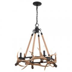 4-Light Cast Antler Chandelier Aged Iron and Natural Rope