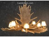 Moose 6 Cast Antler Chandelier w/ Downlight + Rawhide Shades