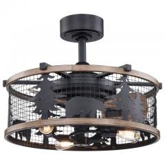 "21"" Wyoming Rustic Lodge Cage Fan with Lights"