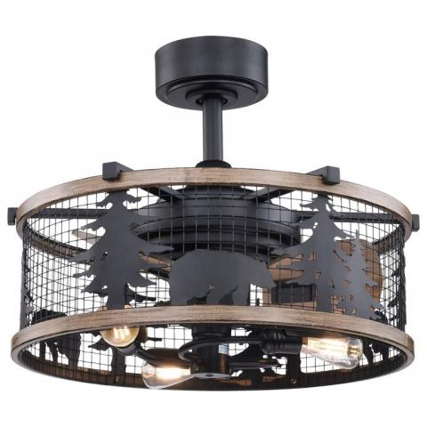 21 inch Wyoming Rustic Lodge Cage Fan with Lights