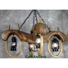 Reproduction Double Ox Yoke 4 lantern light (black finish)