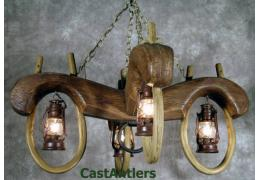 Reproduction Double Ox Yoke 4 lantern light (rusty antique finish)