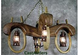 Reproduction Double Ox Yoke 4 lantern light (rusty antique finish)
