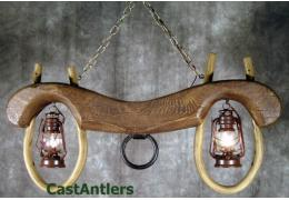 Reproduction Single Ox Yoke 2 lantern light (rusty antique finish)