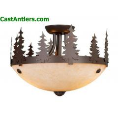 Rustic / Country Two Light Semi Flush Ceiling Light