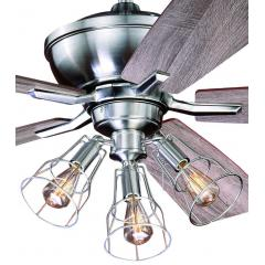"52"" Stainless Edison Ceiling Fan w/ Industrial Cage Light"