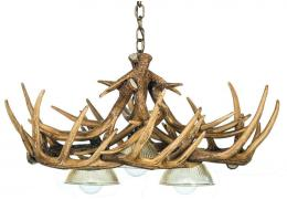 Whitetail 10 Cast Antler Chandelier w/ 3 Downlights