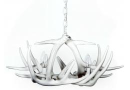 **Pure White** Whitetail 6 Cast Antler Chandelier