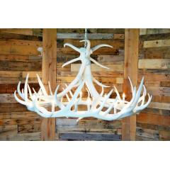 **Pure White** Elk 9 Cast Antler Chandelier